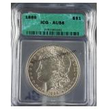 1889 Morgan Silver Dollar ICG AU 58
