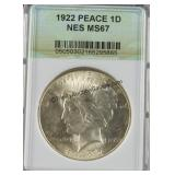 1922 Peace Silver Dollar NES MS 67