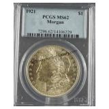 1921 Morgan Silver Dollar PCGS MS 62