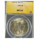 1923 Peace Silver Dollar ANACS MS 63