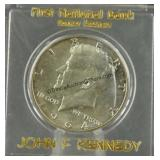 1964 BU Kennedy Half Dollar in Bank Issue Holder