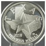 2018 Texas 1oz. 9999 Silver Round