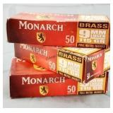 150 Rds 3 Boxes Monarch Brass 9mm 115gr FMJ Ammo