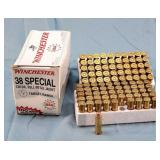 100 Round Box Winchester 38 Sp. 130gr. FMJ Ammo