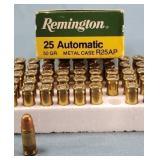 Box of 50 Remington 25 Auto 50gr MC Ammunition