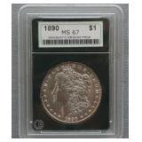 1890 Morgan NGP MS-67 Silver Dollar