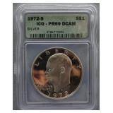 1972-S Eisenhower ICG PR-69 DCAM Silver Dollar