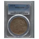 1923-D Peace PCGS AU-55 Silver Dollar