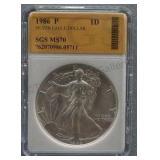 1986-P Silver American Eagle Dollar SGS MS-70