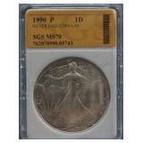 1990-P Silver American Eagle Dollar SGS MS-70