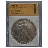 1992-P Silver American Eagle Dollar SGS MS-70