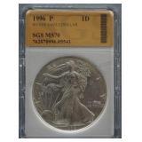 1996-P Silver American Eagle Dollar SGS MS-70