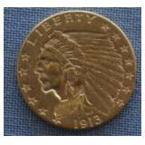 1913 Gold Indian $2.50 Dollar Quarter Eagle
