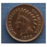 """1909 Indian Head BU """"Red"""" .01 Cent Penny"""
