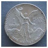 1986 1oz Silver Mexican Libertad BU Coin