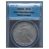 2007-W Silver American Eagle ANACS SP-70 Dollar