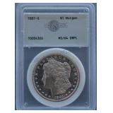 1881-S Morgan AGS MS-64 DMPL Silver Dollar