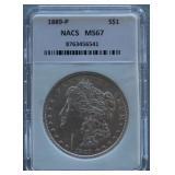 1889 Morgan NACS MS-67 Silver Dollar