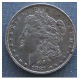 1881-O Morgan AU+ Silver Dollar