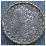 1891-O Morgan AU Silver Dollar