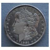 1901 Morgan AU Silver Dollar