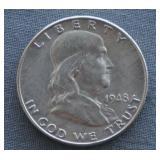1948-D Franklin BU Silver Half Dollar
