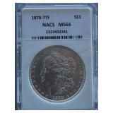 1878 Morgan NACS MS-66 7TF Silver Dollar