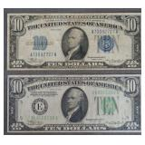 1934 $10 Silver Certificate & Federal Reserve Note