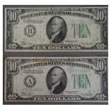2 1934-A $10 Dollar Federal Reserve Currency Notes