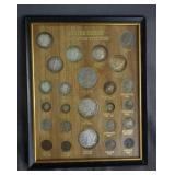 20th Century Type Coins Framed Set with Silver