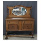 Antique Oak Buffet Sideboard Server with Mirror