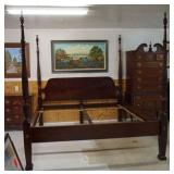 King Size Mahogany 4 Post Rice Bed