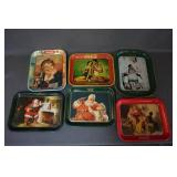 6 Vintage Coca Cola Metal Serving Trays