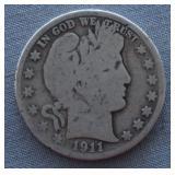 1911-S Barber Silver Half Dollar