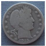 1915-D Barber Silver Half Dollar
