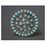Round Silver Petit Point Cluster Turquoise Brooch