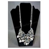 Premier Jewelry Silver Tone Beaded Drape Necklace