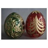 Russia Green and Ruby Red Gold Trim Egg Ornaments