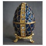 Faberge Swarovski Crystal Deep Blue Egg Ring Box