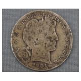 1901 Barber Silver Half Dollar