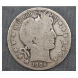 1906-D Barber Silver Half Dollar