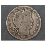 1906-S Barber Silver Half Dollar