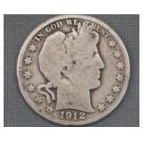 1912-D Barber Silver Half Dollar