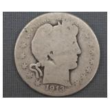1913-S Barber Silver Half Dollar