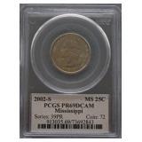 2002-S Mississippi Proof Quarter PCGS PR69 DCAM
