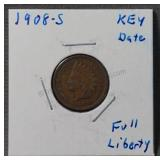 1908-S BU Red Indian Head Cent Penny
