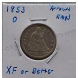 1853-O Seated Liberty Quarter Arrows & Rays