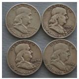 1954 1957 1959 1960 Franklin Half Dollars