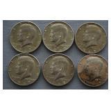 6 40% Silver Kennedy Half Dollars