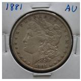 1881 Morgan AU Silver Dollar